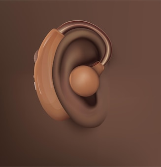 벡터 인간의 귀입니다. 청력 치료, 성형 수술, 이식