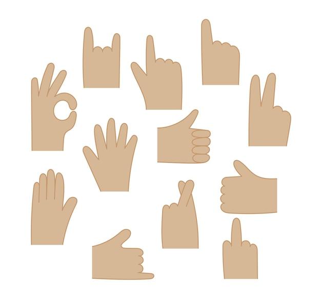 벡터 인간의 손 제스처를 설정합니다. 흰색 배경에 격리된 다른 제스처 손바닥, 인포그래픽, 웹, 인터넷, 앱용 통신 언어 요소