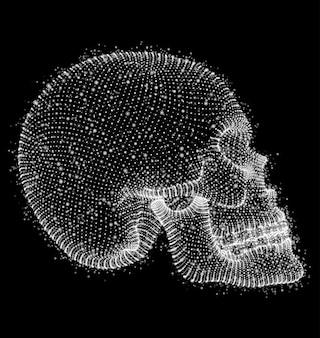 벡터 인간의 두개골입니다. 점과 다각형의 부피. 죽음과 공포의 개념. 죽은 자의 휴일