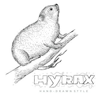 Vector of hyrax on tree trunk. hand drawn animal illustrations look realistic