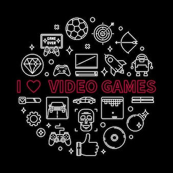 Vector i love video games concept round outline illustration