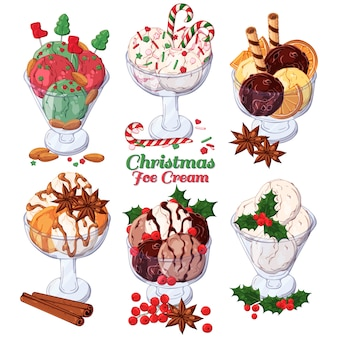 Vector ice-cream decorated with christmas candies.
