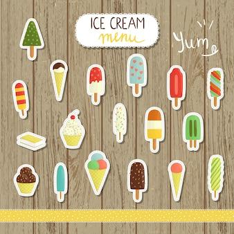 漫画のスタイルのベクトルアイスクリームイラスト。アイスコーンの明るくかわいいイラスト。かわいいステッカー