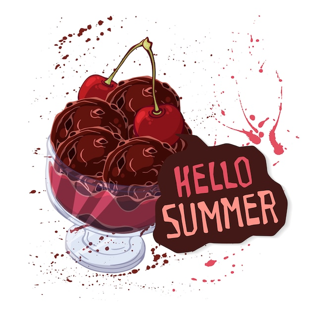 그릇에 벡터 아이스크림 딸기, 초콜릿 또는 견과류로 장식.