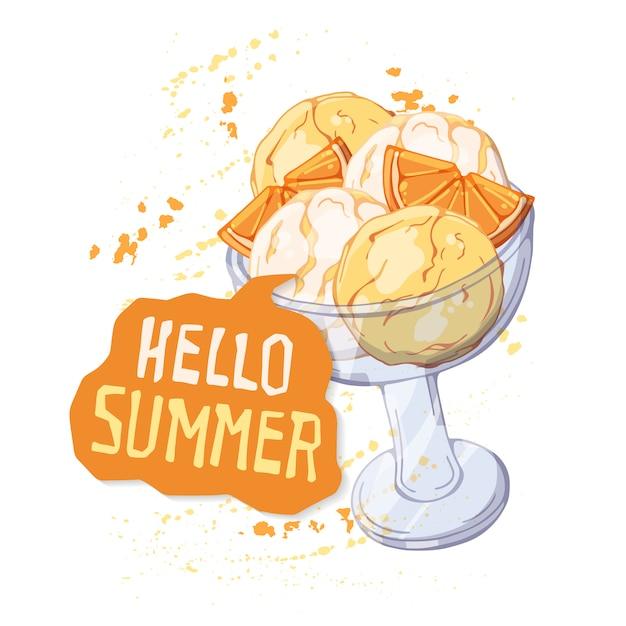 오렌지 조각으로 장식 된 유리 컵에 벡터 아이스크림