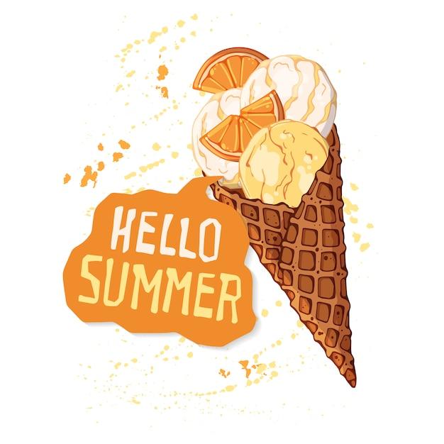 벡터 와플 콘에 아이스크림 딸기, 초콜릿 또는 견과류로 장식.