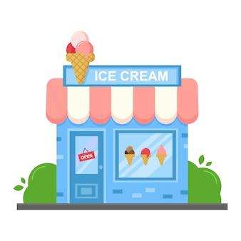 벡터 아이스크림 레스토랑 및 상점. 전면 만화 플랫 스타일 상점 건물 외관입니다.