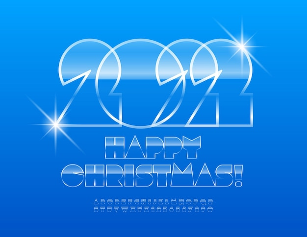 Vector iced greeting card happy christmas 2022 abstract font glossy alphabet letters and numbers