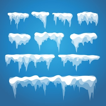Vector icicle and snow elements on blue background. different snow cap isolated on  white. snow elements on winter