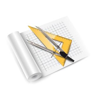 측정 도구와 벡터 아이콘 아키텍처 종이 롤