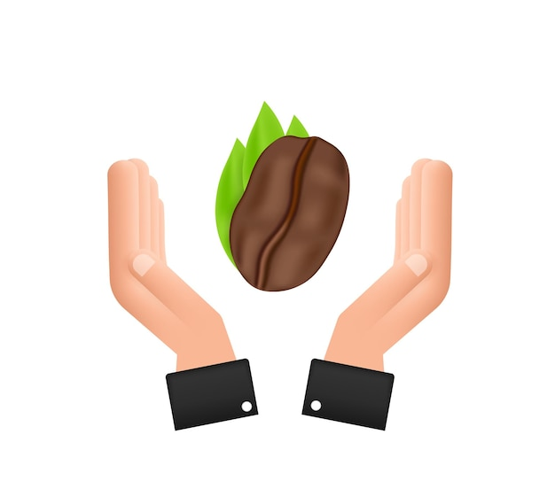 Vector icon coffee bean over hands for cafe label, packing and emblem.