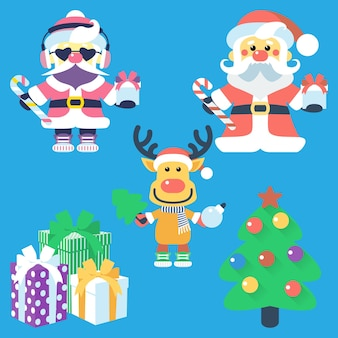 Vector icon flat design with santa claus and santas reindeer christmas tree and gifts
