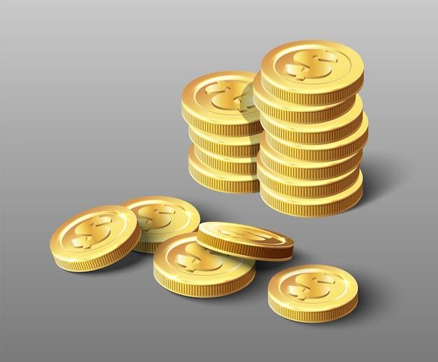 황금 동전 더미의 벡터 아이콘