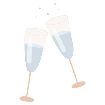 焼けるように暑いシャンパンまたはワインと2つのチリンと鳴るガラスのゴブレットのベクトルアイコン。お祝いまたはクリスマスの孤立した画像。