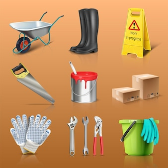 Vector icon set of construction works boots paint bucket gloves boxes