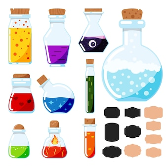 Vector icon set of flat design cartoon style magic potions, glass magical tubes with label stickers isolated on white background.