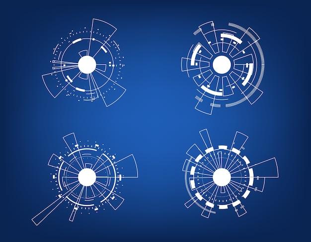 Vector icon set technology circle design.