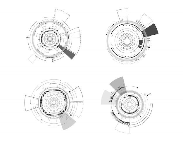 Vector icon set technology circle design