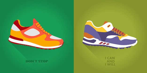 Vector icon set of training shoes.