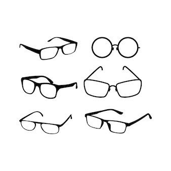 Vector icons eyepiece. silhouettes of black color.