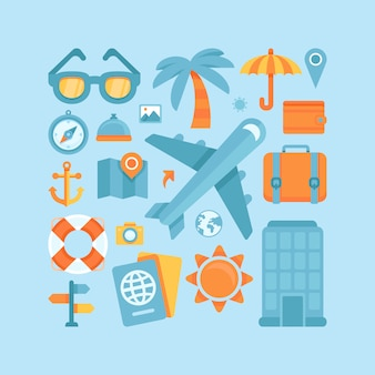 Vector icons in flat style - travel and vacation