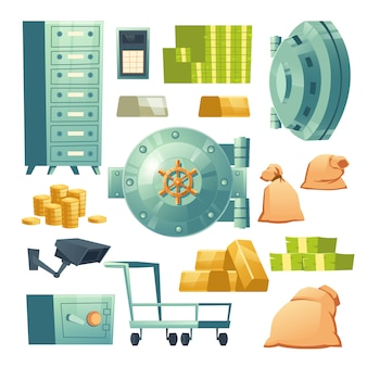 Vector icons set of bank vault and money cash