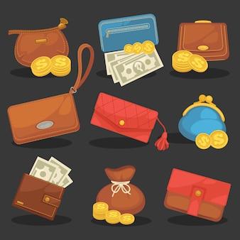 지갑의 벡터 아이콘 세트입니다.
