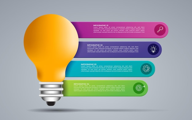 그래프, 차트, 다이어그램에 대 한 벡터 아이디어 전구 원 infographic 템플릿입니다. 5가지 옵션, 부품, 단계, 프로세스가 있는 비즈니스 개념.