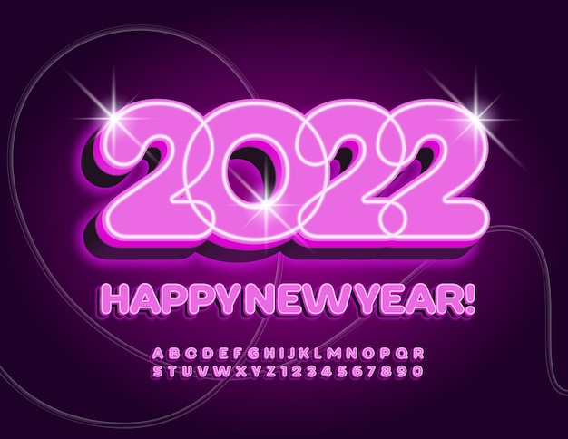 ベクトル照らされたグリーティングカード2022ピンクの光フォントアルファベットの文字と数字の光るセット