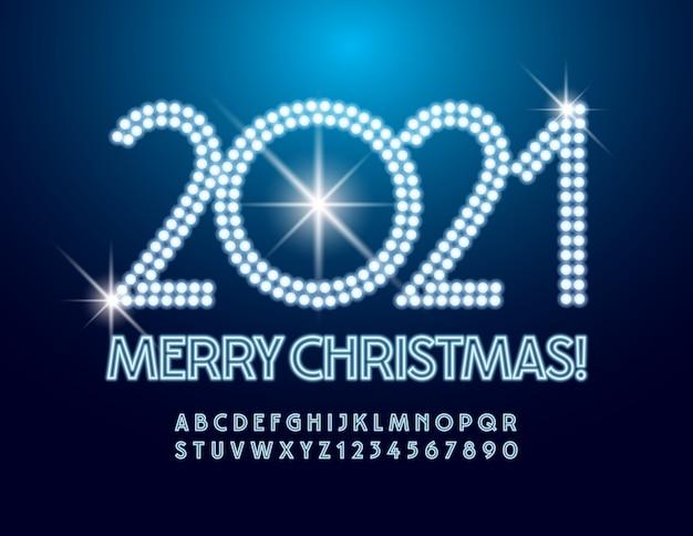Vector illuminated greeting card merry christmas 2021