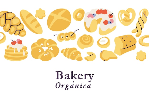 Vector illustartion background assortment of different pastries bakery shop