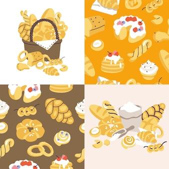 さまざまな白い背景の品揃えで分離されたベーカリー食品でいっぱいのベクトルillustartionバスケット...