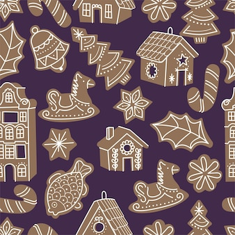 Vector illustartion collection of gingerbread houses. cute naive christmas honey-cakes. seamless pattern.