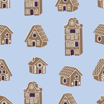 Векторная коллекция illustartion пряничных домиков. симпатичные наивные рождественские медовые пряники. бесшовные модели.
