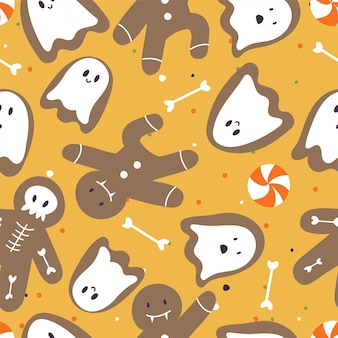 Vector illustartion set of linear icons for happy halloween. trick or treat symbol. background or seamless pattern.