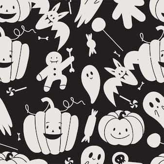 Векторный набор illustartion линейных иконок для счастливого хэллоуина трюк или угощение символ фона или шва ...
