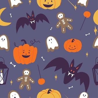 Векторный набор illustartion линейных иконок для счастливого хэллоуина. кошелек или жизнь символ. фон или бесшовные модели.