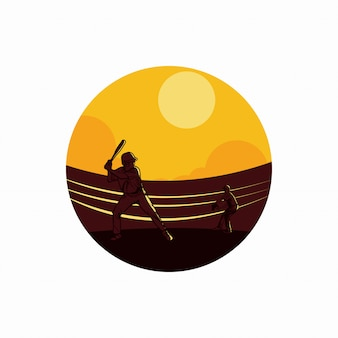 Vector illustration 2 baseball player playing baseball in field flat illustration
