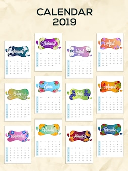 Vector illustration of 2019 yearly calendar design