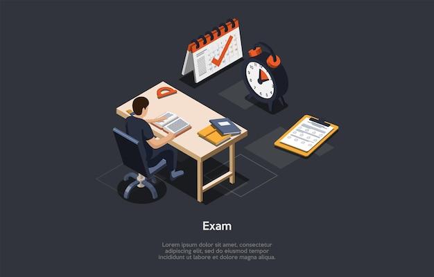 벡터 일러스트 레이 션. 3d 구성, 만화 스타일 아이소메트릭 디자인. 시험 개념입니다. 책상에 앉아있는 남학생, 교육 인포 그래픽 개체 주변. 모범생 학습. 큰 달력, 종이 및 시계