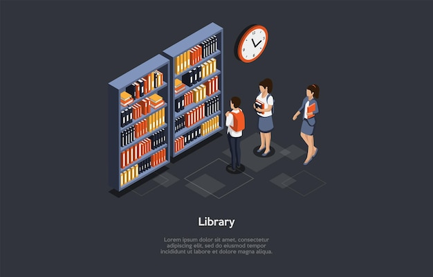Vector illustration. 3d composition, cartoon style isometric design. library ideas. group of students standing. male and female characters. three schoolchildren at athenaeum. dark background, writings