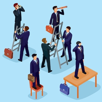 Vector illustration of 3d flat isometric people. the concept of a business leader, lead manager, ceo.