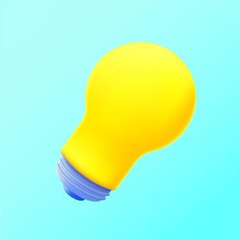 Vector illustration of 3d rendered cute icon lamp