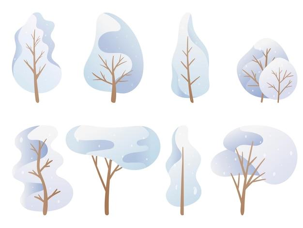 ベクトルイラスト。落書き画像のセット。青いパレットの漫画の木、さまざまな形の雪に覆われた冬の王冠。背景の装飾