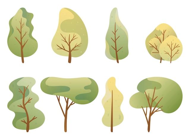 ベクトルイラスト。落書き画像のセット。緑のパレットの漫画の木。クローン病とさまざまな形の葉。背景の装飾