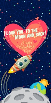 Vector illustration about outer space for valentines day.