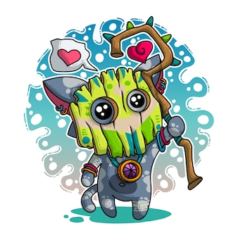 Vector illustration about shaman in love