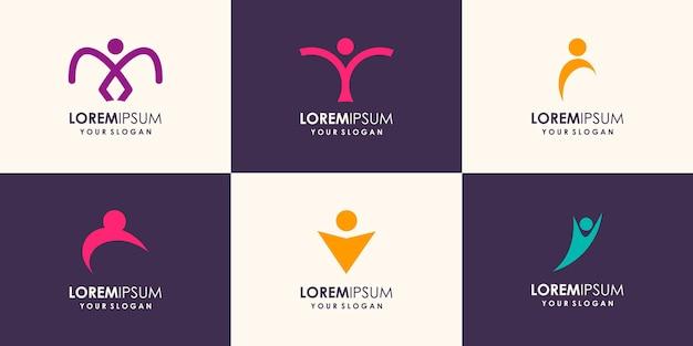 Векторная иллюстрация абстрактного человека элегантной концепции дизайна для логотипа, связанного с деловыми людьми, здоровьем, спортом, помощью