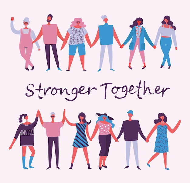 Vector illustration of activists men and women holding hands together in the flat style concept illu...