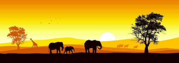 Vector illustration of african wildlife